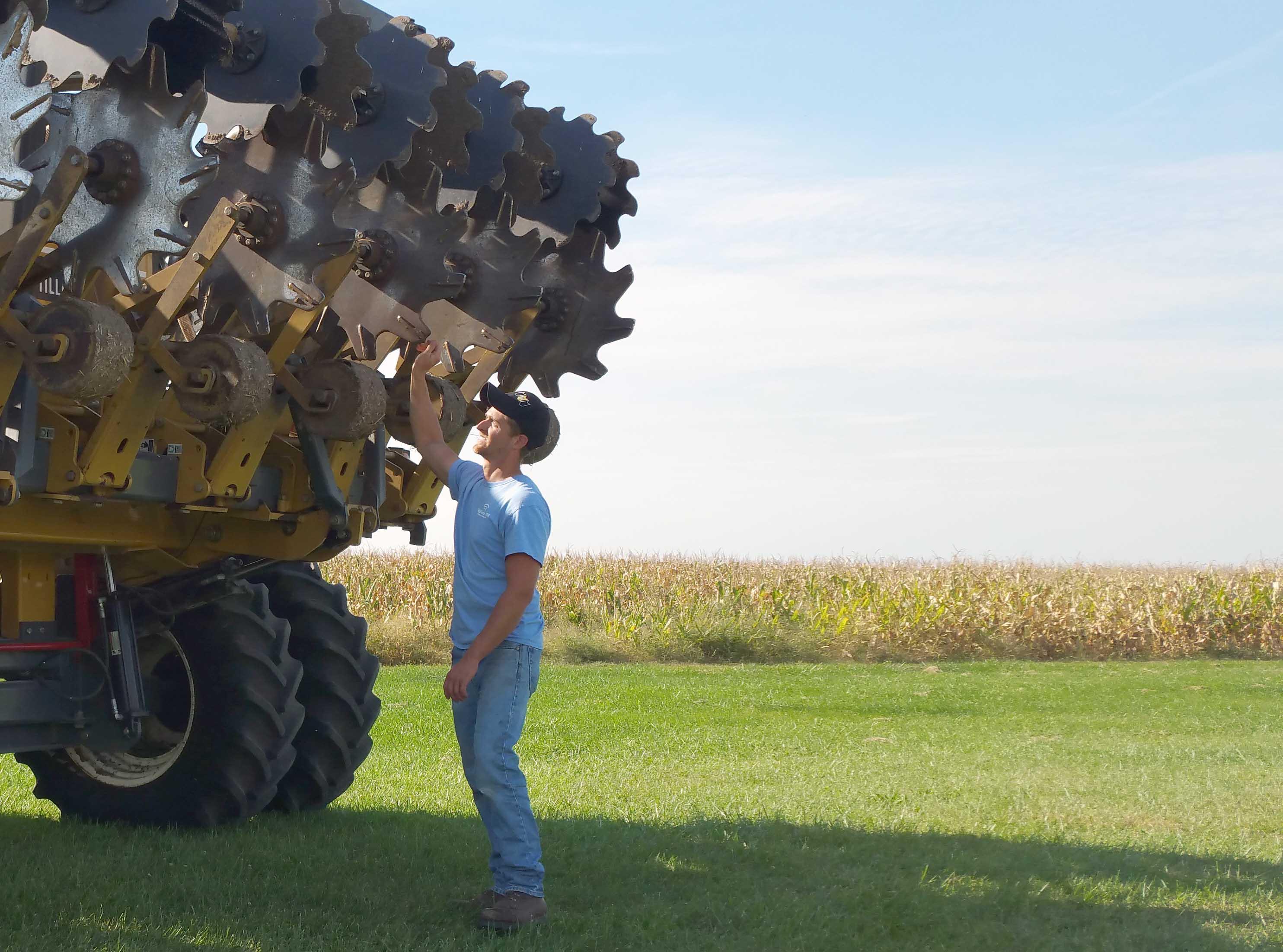 Dave Delhotal inspects SoilWarrior